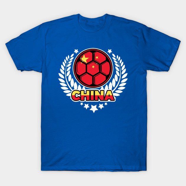 Distressed Flag of China Soccer Ball Victory Laurel Wreath T-Shirt