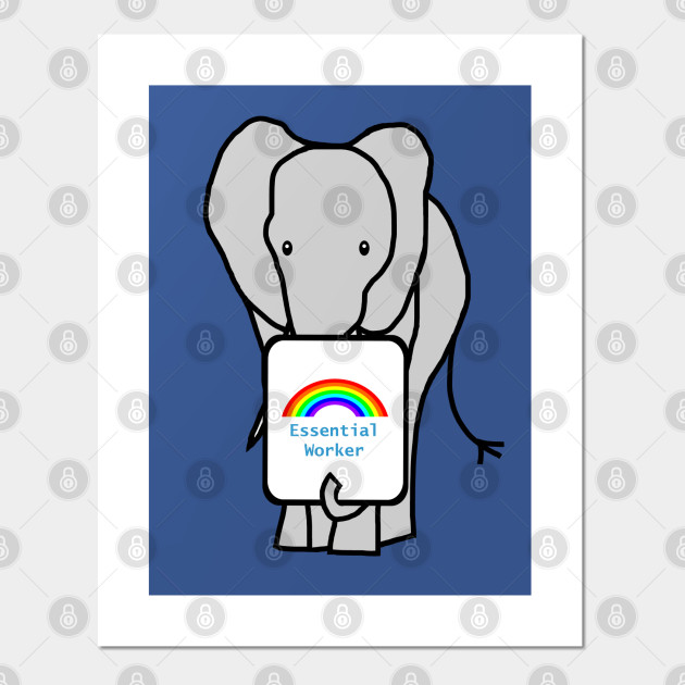 Elephant Worker Rainbow Essential Employee Meme