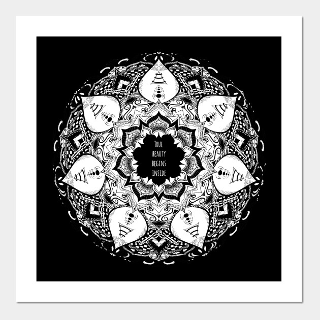 True Beauty Begins Inside Quote Mandala Top Trend Quotes Posters