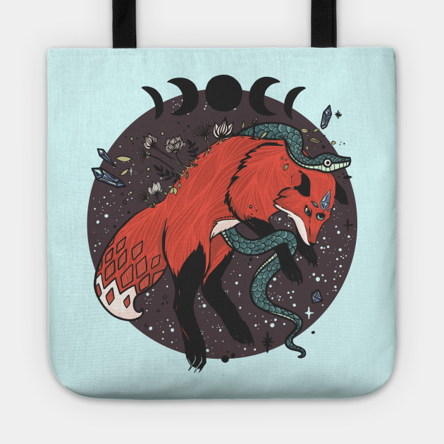 Fox Jumping With Snake, Moon Phases, Nature And Witchcraft Design Elements