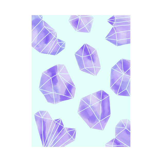 Watercolour Purple Crystal Print