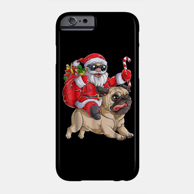 Pug Christmas shirt Santa Claus Riding Pugmas Dog Xmas Boys Phone Case