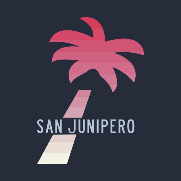 SAN JUNIPERO (Black Mirror) - TCKR Systems Palm Tree with Fading Paradise Pink Stripes