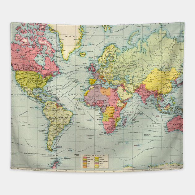 Vintage Political Map Of The World 1922 World Map Tapestry