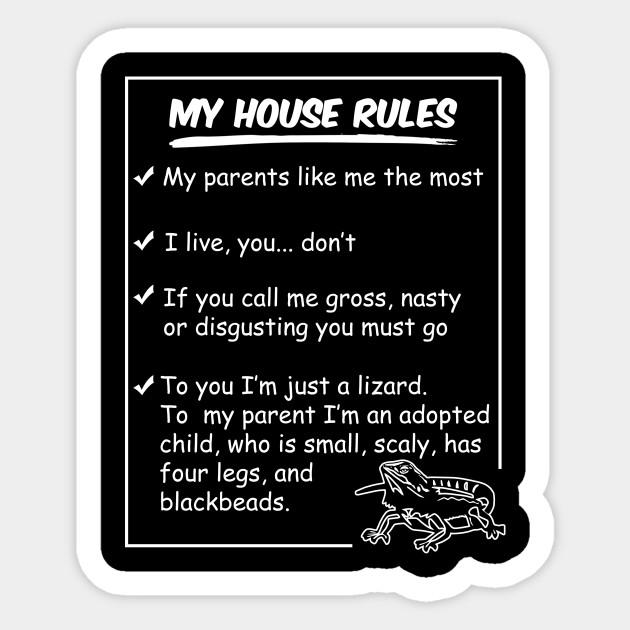 Funny Bearded Dragon Shirt My House Rules