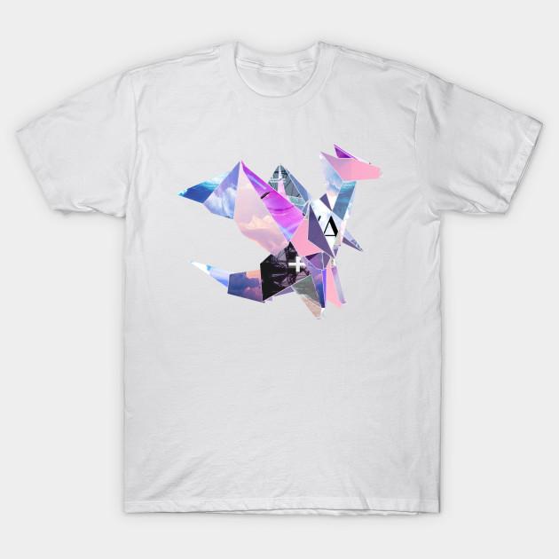 443e6115 Vaporwave Origami Dragon - Vaporwave - T-Shirt   TeePublic