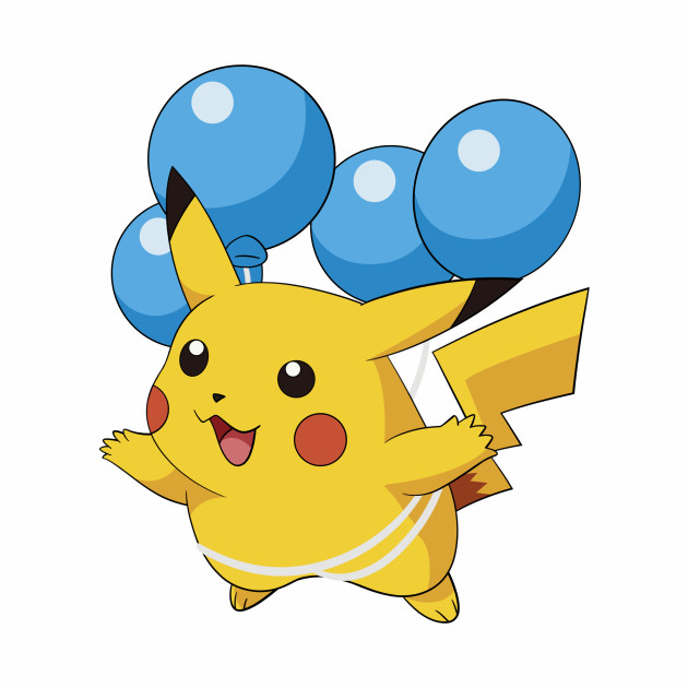 Pikachu Flying with Ballons