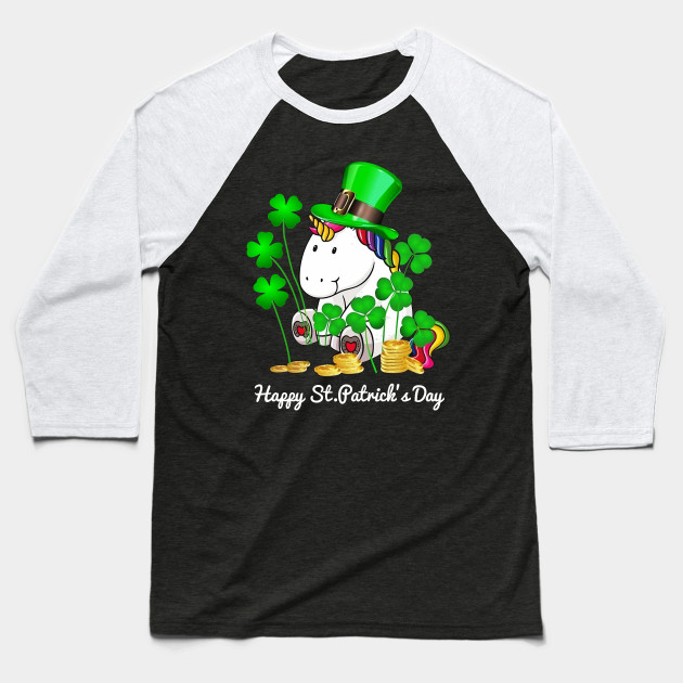 Unicorn Happy St. Patrick's Day Shirt Baseball T-Shirt