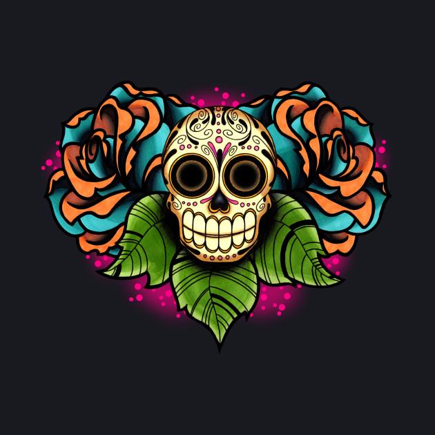 Sugar Skull and Roses - Dia de los Muertos Calavera - Day of the Dead Skull