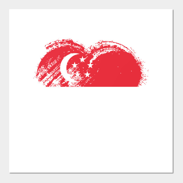 Grungy I Love Singapore Heart Flag