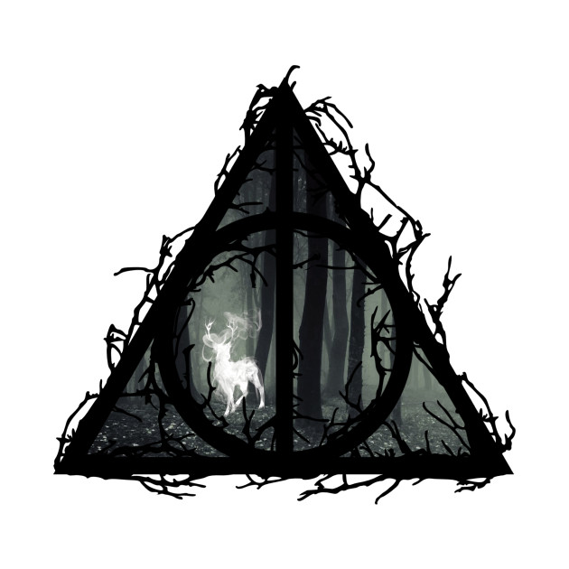 6516f8434c126 ... Harry Potter - Deathly hallows - prongs in the forbidden forest w   branches - elder