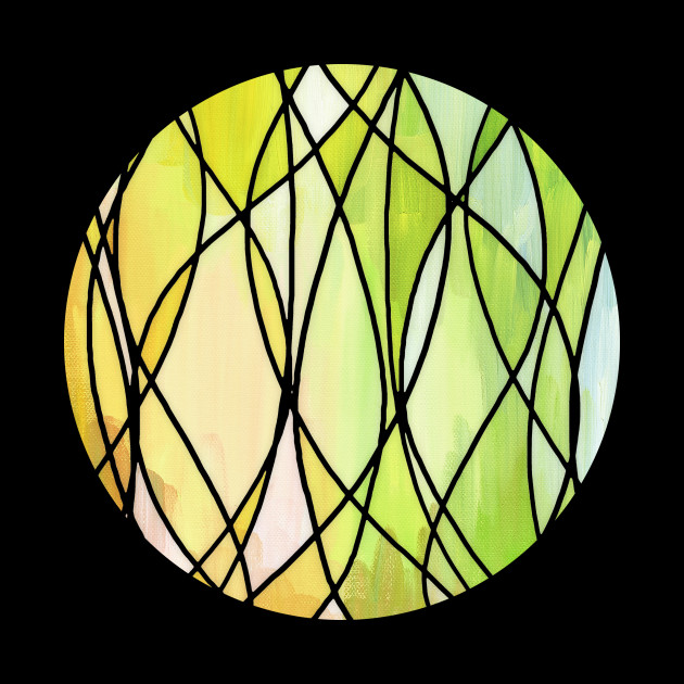 Lemon & Lime Love - abstract painting in yellow & green