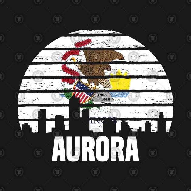 Aurora Illinois IL Group City Silhouette Flag Gift