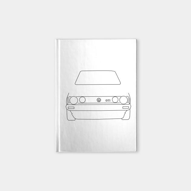 7fff7cb50 VW Golf GTI Mk 1 outline graphic (black) - Golf - Notebook   TeePublic