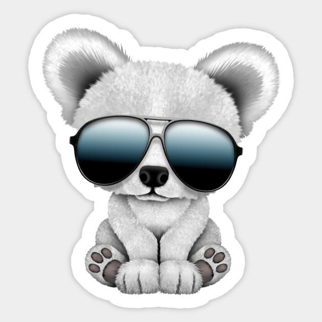 d4ac50393fc Cute Baby Polar Bear Wearing Sunglasses - Polar Bear - Sticker ...