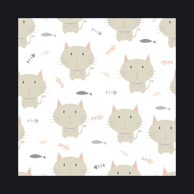 Cute gray cat with fishbone design