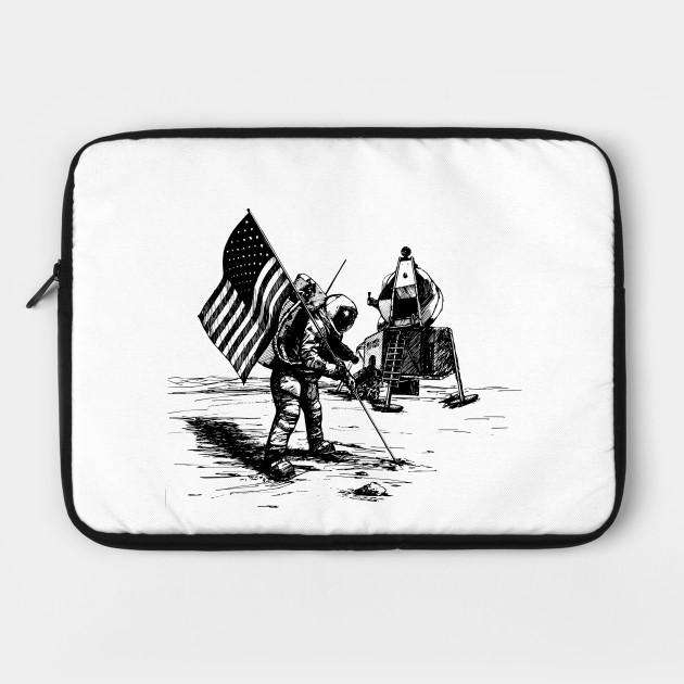 USA flag on the moon - space