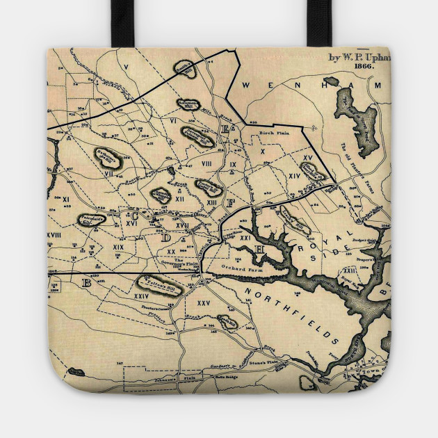 vintage 1692 map of salem massachusetts 1866 salem map tote