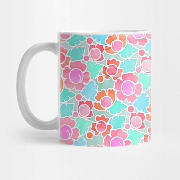 Pastel Tropical Floral Pattern Design with watercolor texture