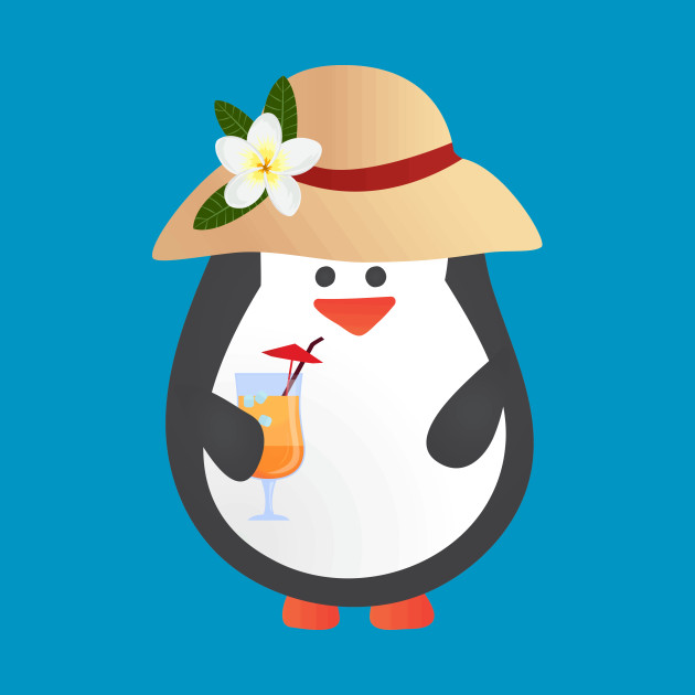 Cute Penguin with Tropical Hat and Drink
