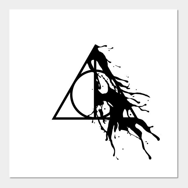 a2ad47eb7 Harry Potter - Deathly Hallows half paint splashes (black) - Potterhead -  Gryffindor - Hogwarts - Marauders - Severus Snape Always Posters and Art  Prints