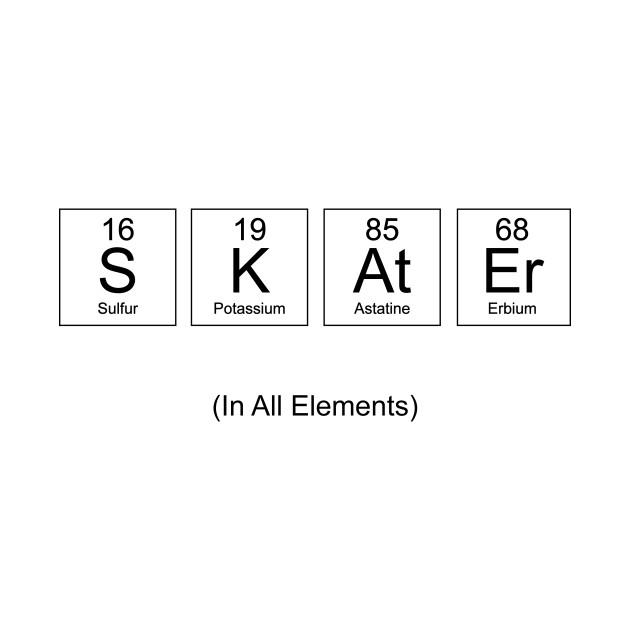 Skater In All Elements Chemistry Periodic Table Science Skater