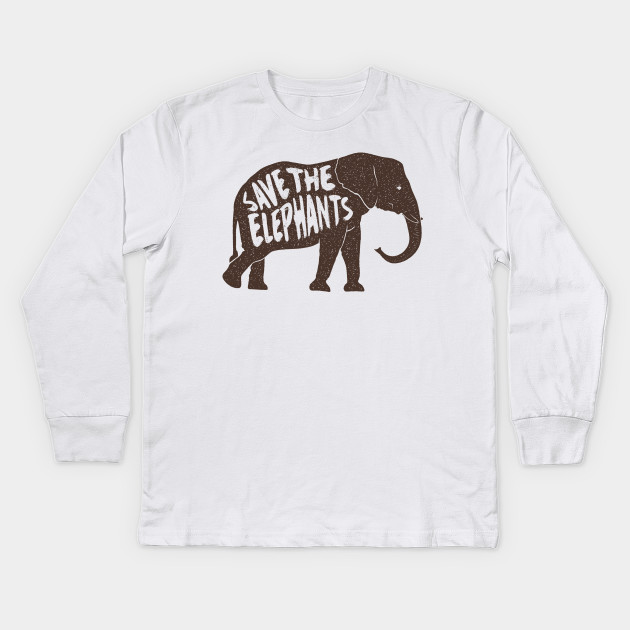 45196f4a7 Awesome Vintage Save The Elephants T shirt - Elephant - Kids Long ...