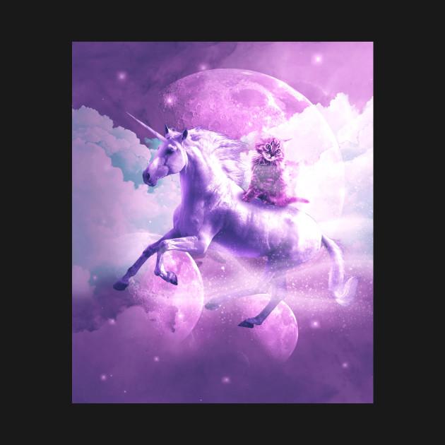 Kitty Cat Riding On Flying Space Galaxy Unicorn - Unicorn ...