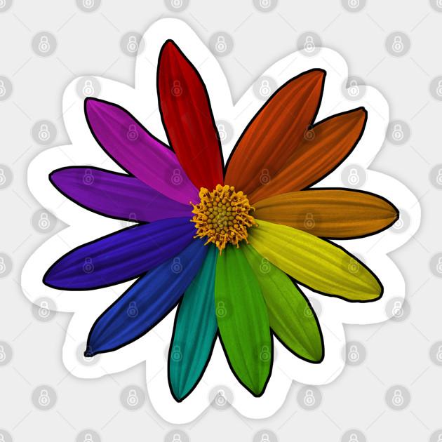 Flower Color Wheel Rainbow Color Sticker Teepublic