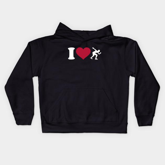 I Love Heart Ice Skating Kids Sweatshirt
