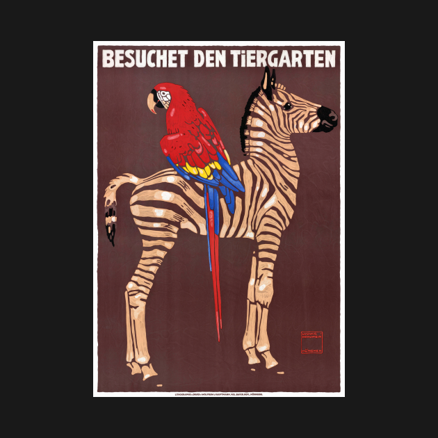 Vintage Travel Poster Germany Zoo Restored