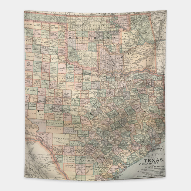 Map Of Texas And Oklahoma.Vintage Map Of Texas And Oklahoma 1891 Texas And Oklahoma