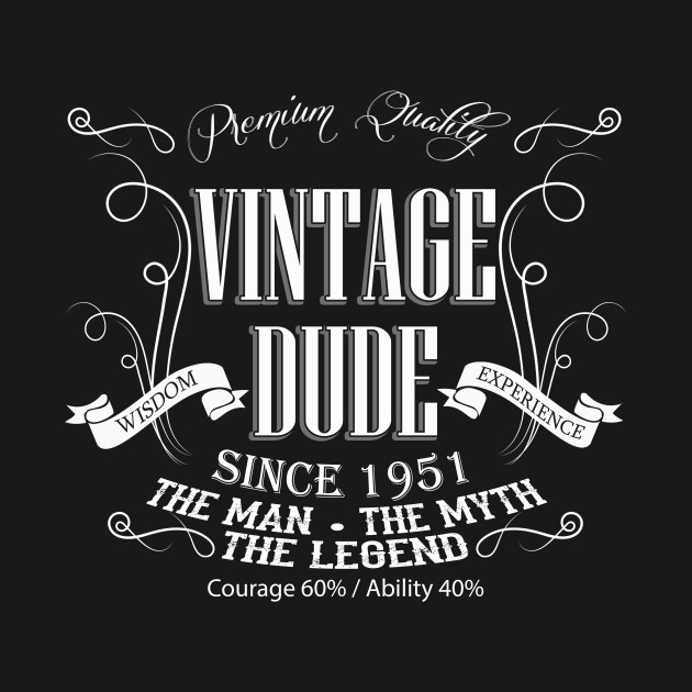 Vintage Dude 65 Since 1951 65th Birthday Gift For Men