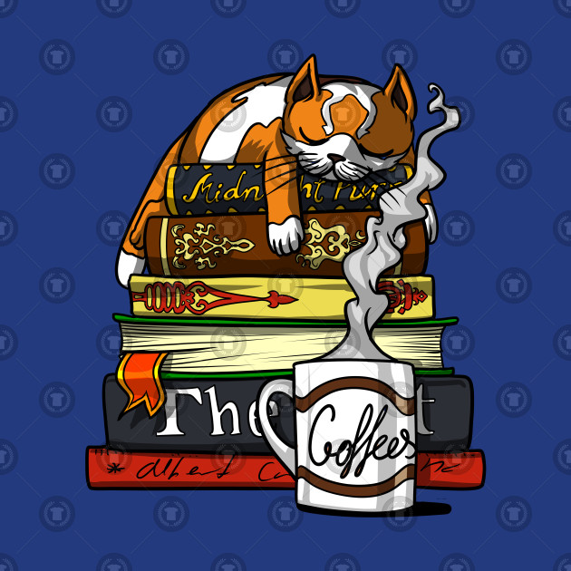 Cat Book Coffee Lover