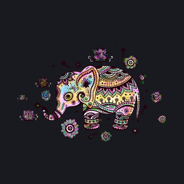 Cute Colorful Elephant And Flowers Illustration