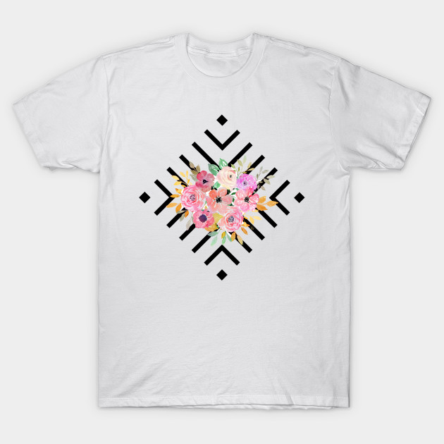 Watercolor Floral And Geometric Diamond Design Geometric T Shirt