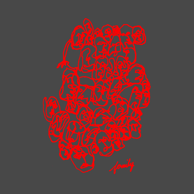 Family Line Drawing Art Red Print