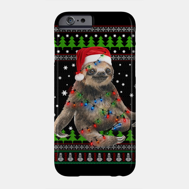 Santa Sloth Christmas Lights Sloth Christmas Ugly Sweater Phone Case