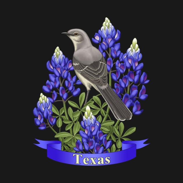 Texas State Mockingbird and Bluebonnet Flower