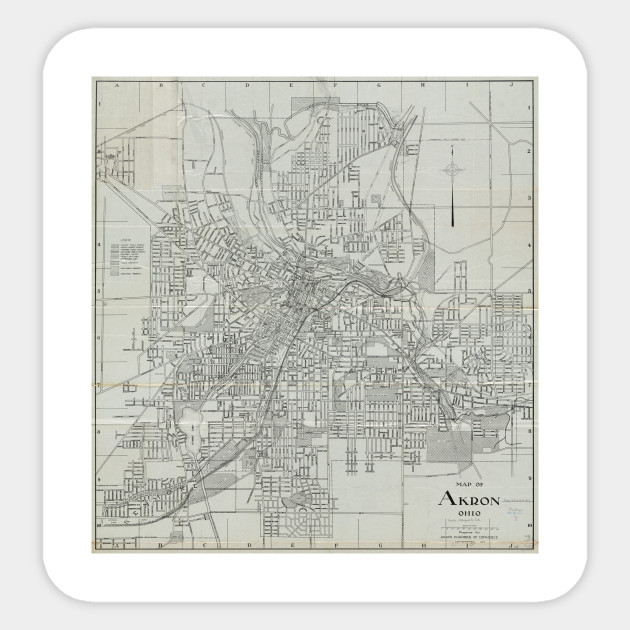 Vintage Map Of Akron Ohio 1917 Akron Oh Sticker Teepublic