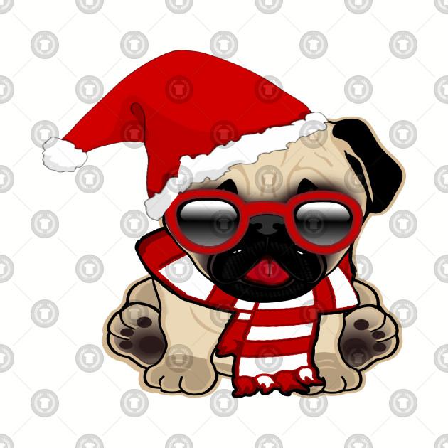 Christmas Pug wearing Santa Hat and Scarf - Christmas Pug - T-Shirt ... 8299cdf2258
