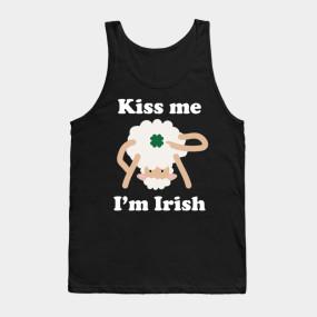 Kiss Me Im Irish Sheep Funny St Patricks Day Pun Adult Apparel