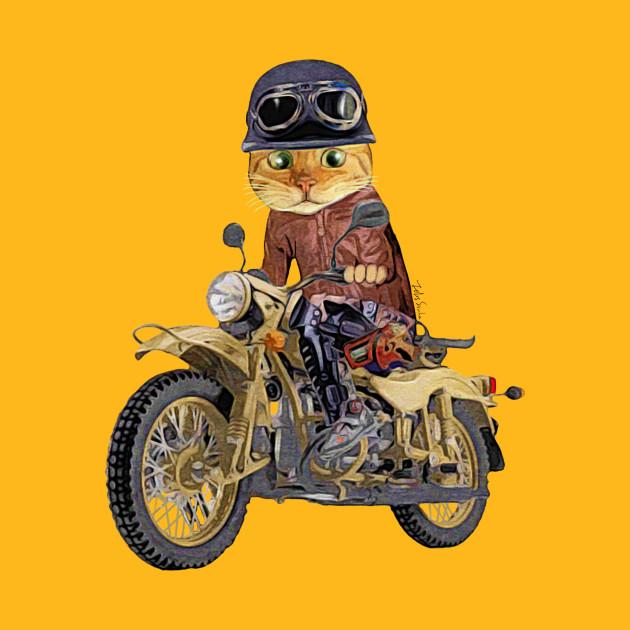 Cat riding motorcycle - Motorcycle - T-Shirt | TeePublic