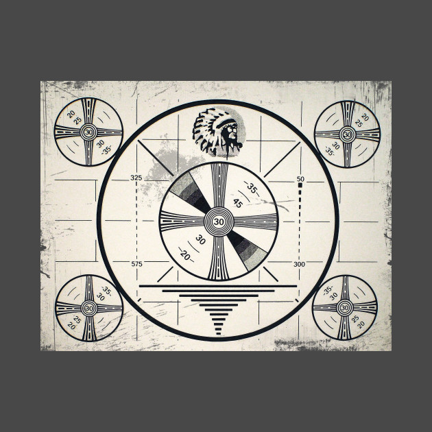 Retro distressed Indian Chief Monoscope test pattern