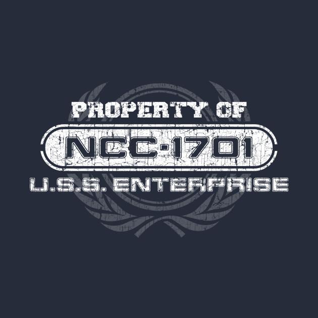 Vintage property of ncc1701 star trek t shirt teepublic for Property of shirt designs