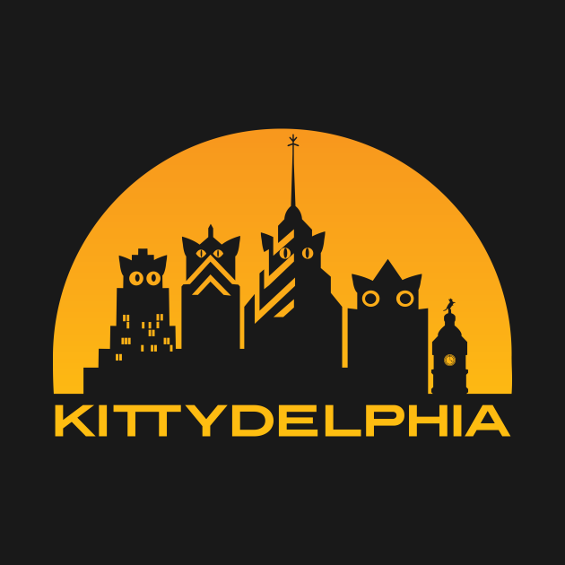 Kittydelphia logo - golden sunset