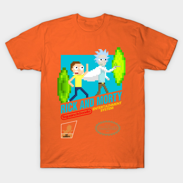 Rick and Morty NES Cartridge With Logos T-Shirt-TOZ