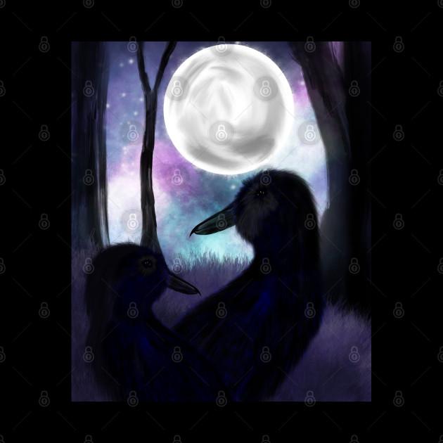 Ravens at night