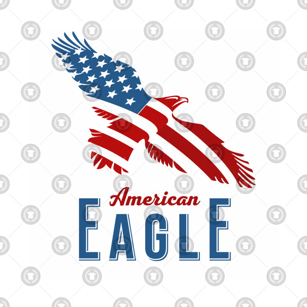 American Eagle Lettering American Flag American Flag Pillow