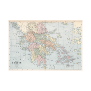 Vintage Map of Greece (1901) t-shirts